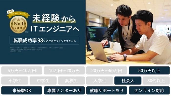 プログラミング未経験におすすめのプログラミングスクールのイメージ画像